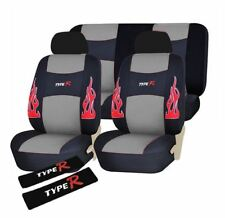 Type R Universal Fit PU Leather Car Seat Cover Set - GREY