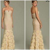 JOVANI 3867 Mermaid chiffon gown with rossete appliqué in champagne msrp$898