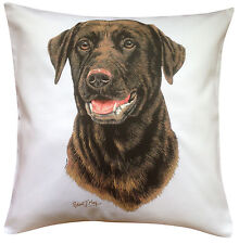Labrador Chocolate RM Breed of Dog Themed Cotton Cushion Cover - Perfect Gift