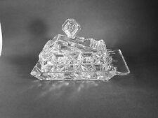 EAPG 2 PIECE HEAVY GLASS CHEESE KEEP - BLOCK & DIAMOND PATTERN - RARE SHAPE