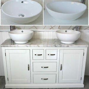 Bathroom Vanity Unit White Marble Top Ceramic Basin Choice 603PWMCBC