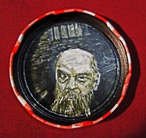 PAUL VERLAINE, Jam Jar Lid Portrait, French Poet, Outsider Folk Art by PETER ORR