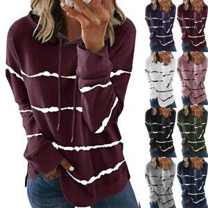 Women Long Sleeve Hoodie Sweatshirt Sweater Striped T Shirt Loose Casual Tops