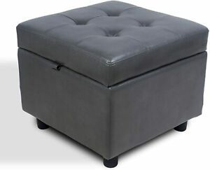 H&B Luxuries Tufted Square Ottoman with Storage and Hinged Lid - Faux Gray