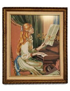 """Unique Handmade Gobelin """" Lady Playing Piano"""" Framed"""