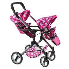Lissi Modern Twin Doll Double Stroller White With Pink Trim and Hearts
