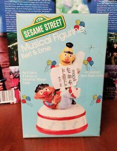 Vintage Sesame Street Bert Ernie Music Box Figurine MiB - SEALED 1986 French