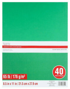 Recollections Cardstock Paper Holiday Green 40 sheets 8.5in x 11in 65 lb