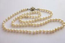 Seltene antike Halskette Perlenkette einzeln geknüpft Schließe Gold 750 Saphir