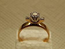 GENUINE 18k. YELLOW GOLD-PLATINUM & DIAMOND ENGAGEMENT RING - SIZE P.5