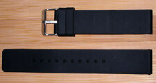 24mm Black Silicon watch Band/Strap Flat  With a silver buckle