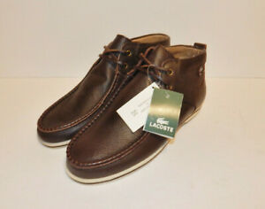 Lacoste Men's Troxler Brown Leather Chukka Boots Size 8 NWOB