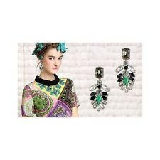 CChic Boho Gemstone Statement Dangle Earrings - Green, Black & Clear Gems (1370)