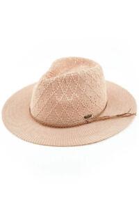 C.C Women's Knitted Diamond Pattern Panama Sun Hat with Braided Sued Trim Band