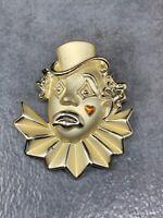 "Vintage AJC Gold Tone Sad Clown Brooch Pin 2"""