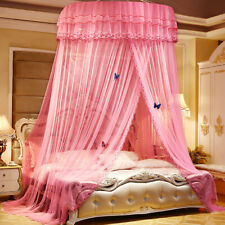 Princess Lace Mosquito Net Hanging Dome Bed Canopy King Size Circular Curtain