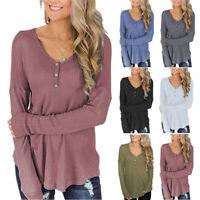 Loose Top Long Sleeve Waffle Pattern T-shirt Long Sweater for Women Blouse S-2XL