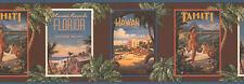Tropical Vintage Poster su Cioccolato Marrone con Blu Grigio Bordo Bordo TG2296B