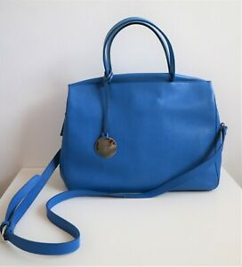 Ella Valentine Blue Leather Madison Hand Bag with Detachable Shoulder Strap