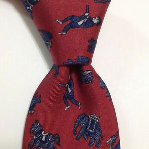 HERMES 963 IA Men's 100% Silk Necktie FRANCE Luxury SAFARI HUNTER Red/Blue GUC