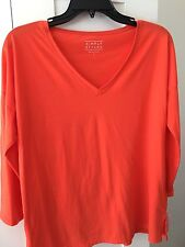 WOMEN NEW SIMPLY STYLED ORANGE COLOR TEE SIZE S