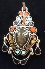 Inlayed Face Pendant Vintage Sterling Silver Mexican