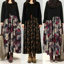 Vintage Femme Coton en Linge Manche Longue Floral Loose Simple Robe Dresse Plus