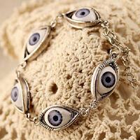 Fashion Lucky Gold/Silver Evil Eye Chain Bracelet Cuff Bangle Women Jewelry Rx