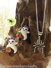 Halloween jewelry set,glow in the dark ring, ghost earrings,opal spider necklace