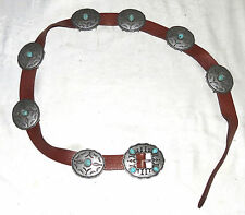 Leather Belt with 7 Pewter Turquoise Ovals and Matching Buckle Size 38