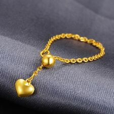 999 Pure 24K Yellow Gold Ring Woman Lucky O Adjustable Ring US Size 5-8 Gift