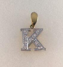 9ct Gold White Cubic Zircona Set Initial K Pendant   2.9cm inc Bale   3.1g  NEW