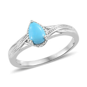 Arizona Sleeping Beauty Turquoise Platinum Over Sterling Silver Ring Size 6