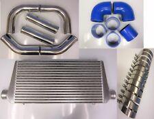 "Front Mount Intercooler Kit FMIC 76mm 3"" BLUE HOSES 600x300x76 Core T-Clamps"