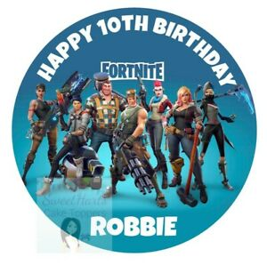 FORTNITE CAKE TOPPER ROUND PERSONALISED EDIBLE ICING DECORATION UNOFFICIAL D3