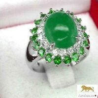 4.7 ct  AAA GREEN AGATE - GARNET SILVER RING
