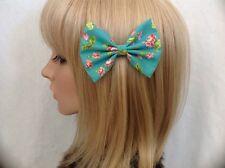 Floral hair bow clip rockabilly pin up girl retro vintage pink turquoise cute