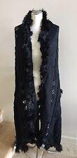 ALPACA INTERNATIONAL Baby Alpaca Fur Trimmed Knit Scarf Shawl Wrap In Black