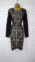 ~KAYLEY~ Black Floral Lace Bodycon Evening Mini Party Dress Size 6 8 10 12 14