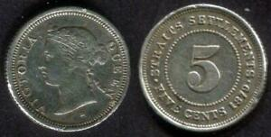 Straits Settlements, Queen Victoria  5 Cents Coin, 1879H Key date KM #10