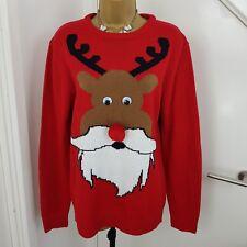Christmas Jumper Pom Pom Rudolph Moustache Xmas Sweater Cardigan Red Size M