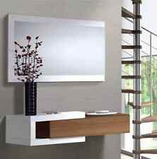Nicia Hallway Wall Drawer Mirror Walnut White Frame Floating Design