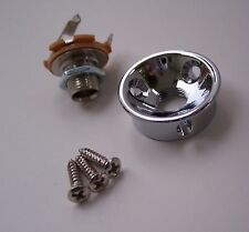 CHROME SOCKET STYLE JACK PLATE & JACK FOR FENDER TELE TELECASTER GUITAR