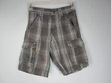 Wrangler Jeans Co. Boy's Size 8 100% Cotton Plaid Gray Cargo Shorts Adjustable