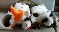 2pc Lamb Chop Plush Holiday Dog Toy Set Halloween Witch & Pumpkin