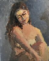 Original Jeff Barnes Abstract Realism 20x16 Figure Painting Seated Nude Woman