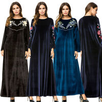 Women Velvet Embroidery Long Sleeve Maxi Dress Dubai Gown Arab Kaftan Abaya Robe