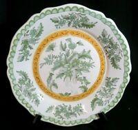 ANTIQUE FRENCH FAIENCE / hand painted pottery plate bowl / green bird & flowers