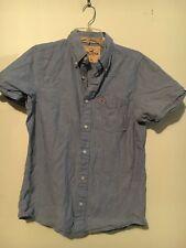 HOLLISTER Boys Denim Blue Button Front Short Sleeve Casual Shirt Size M