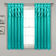 Circle Dream Window Curtain Panels Turquoise 54X63 Set